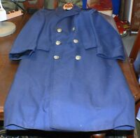 Navy Overcoat Blue Lined Long Military Navy Coat Vintage militaria.
