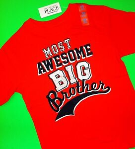 """*NEW! """"Most Awesome BIG Brother"""" Boys Graphic Shirt 4 5-6 7-8 10-12 Gift! Orange"""