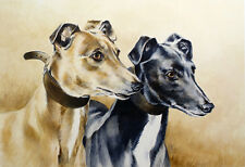 "GREYHOUND COURSING RACING DOG FINE ART LIMITED EDITION PRINT  ""Running Mates"""