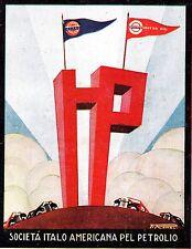 PUBBLICITA' LAMPO BENZINA STANDARD OIL BANDIERE CIMA MONTAGNA AUTO ROMOLI 1928