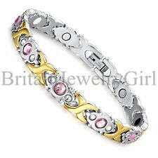 "8.46"" Silver Gold 2 Tone Stainless Steel Women Magnetic Bracelet Cuff Bangle*8mm"