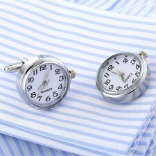 NEW Brass Watch Real Clock Cufflinks Men Wedding Novelty Cuff Links Fashion Gift