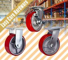 "4'' 5"" 6'' 8"" Caster Castor POLYURETHANE PU Wheel Heavy 1000KG Swivel Brake  R"