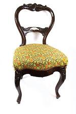 antiker Polsterstuhl Rokoko Barock Stil Massiv-Holz dunkel Blumen Dekor Stuhl