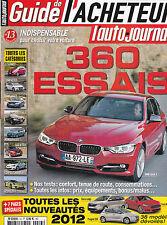 L'AUTO JOURNAL LE GUIDE DE L'ACHETEUR  2012 . 360 ESSAIS . 226 PAGES