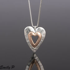 Long Statement Necklace Rose Gold Silver Tone Hand Finished Pendant Lagenlook