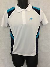 Boys Polo Shirt New Balance Pace Polo Shirt Top Size 12 Years Old White #W580