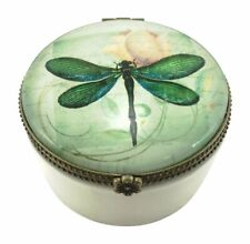 Value Arts Green Dragonfly Trinket Box, Ceramic Glass, 2.5 inches Diameter
