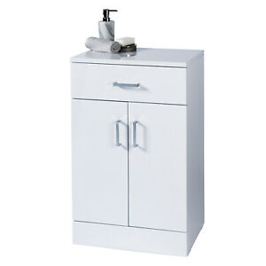 High Gloss White Bathroom 2 Cabinet Soft Close Double Doors storage shelves unit