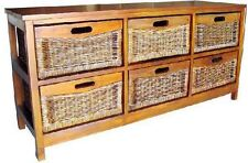 NEW  CANE LOWBOY STORAGE CABINET   WITH 6 DRAWERS 1320(W) - AMERICAN HERITAGE