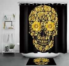 Funny Skull Sunflowers Gold and Black Waterproof Fabric Shower Curtain Set 72""