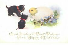 More details for vintage inter-art comique easter postcard:  black kitten cats & hatching chick