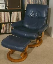 Ekornes Stressless Leather Adjustable Recliner Chair  Ottoman Lrg 'Admiral'~Navy