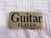 Vintage Belt Buckle Guitar Player Solid Brass Taiwan #4108