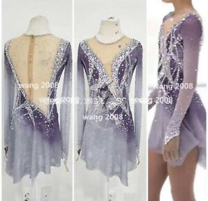 Ice Figure Skating Competition Dress Girls'  Baton Twirling Costume purple
