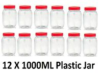 12 X 1000ML Plastic Storage Jars Containers Canisters Pots Screw Top Food Grade