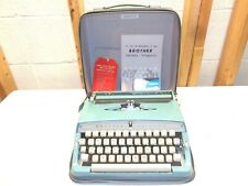 Vintage BROTHER DeLuxe Portable Manual Blue Typewriter~Case & Manual