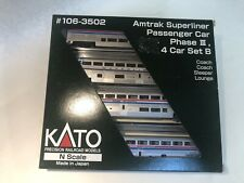KATO N Scale Amtrak Superliner Phase III 4 Passenger Car Set A
