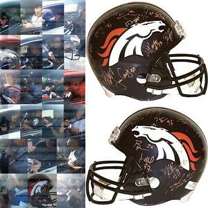 2015 Denver Broncos Team Signed Football Helmet Proof Super Bowl 50 Autograph