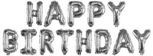 Buchstabenballons Happy Birthday Ballons Silber 40cm Luftballon Folienballons