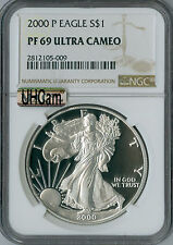 2000-P SILVER EAGLE NGC MAC PF-69 UHCAM 2nd FINEST GRADE SPOTLESS  .
