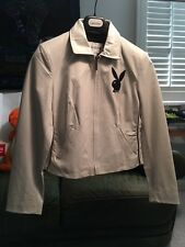 Playboy White Leather Jacket with Playboy Bunny Patch and Stitched interior.