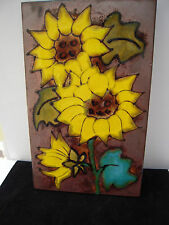 Sun flower Large Ceramic Wall Tile - West German Bathroom  38 cm x 24 cm Pretty.