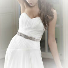 Ivory Handmade Crystal Bridal Sash Belt Wedding Accessory Ribbon Tie Rhinestone
