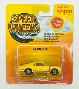 Vintage Maisto Speed Wheels Series IX - Ford Mustang Boss 302 - Yellow MOC 1/64