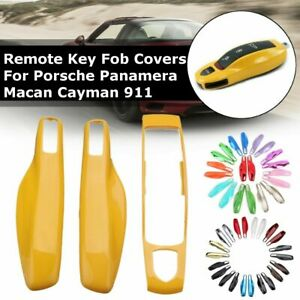 3PCS Remote Key Case Fob Cover Shell Trim For Porsche Panamera Macan