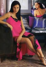 4X Plus Size Lingerie Fuschia Long Gown with see through Black Lace Trim 4X