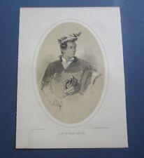 Old Antique 1850's PRINT - Raja of JAHORE - SINGAPORE