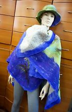 PONCHO HAT SET FELTED REVERSIBLE ORGANIC WOOL ARTSY MADE IN EUROPE HOLIDAY GIFT