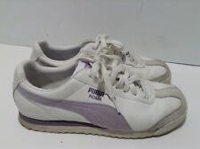 Puma Roma Womens 7.5 EUR 38 White Purple Athletic Sneakers