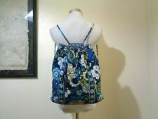 VERA BRADLEY BLUE FLORAL QUILTED COTTON DRAWSTRING BACKPACK PURSE