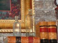 Two Vintage Blue Green Glass antique MedicIne Bottles