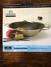 Oneida 18/10 Heavy Gauge stainless steel WOK Glass Vented Lid New In Box