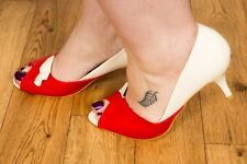 Collectif Lulu Hun red & white Valetine open toe high heels 8 Rockabilly pin-up