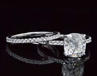 1.90 Ct Cushion Cut Diamond Solitaire w/ Round Cut Engagement Ring Set F, IF GIA