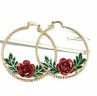 Gold Plated Tri-Color Hoop Earrings Flower Rose Arracadas Aretes Oro Laminado