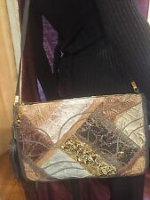 ESTATE FIND Carlo Fiori OF ITALY LEATHER SNAKESKIN HANDBAG HAND GATHERED EFFECT