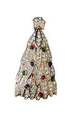 1998 Swarovski Christmas Tree Pave Cabachon Crystals - Signed-  Swan - RETIRED