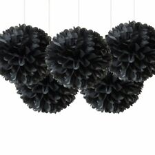 "10"" Black Tissue Pom Poms Paper Flower Ceiling Hanging Party Decorations 5 Pack"