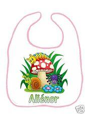 Bavoir bébé blanc bordure rose réf F12 personnalisé avec prénom