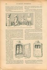 Idole Golde Chamans Gong Tambour Koursk Russie GRAVURE ANTIQUE OLD PRINT 1909