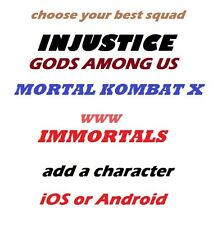 Injustice GAU Mortal Kombat X (MKX) Immortals Add ANY character iOS or Android