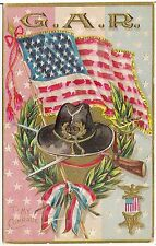 """""""To My Comrade"""" G.A.R. U.S. Flag and Hat Decoration Day Patriotic Postcard"""