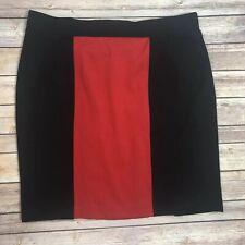 Nicole Miller Black & Red Color Block Skirt Size XL Knit Stretch Knee Length FF