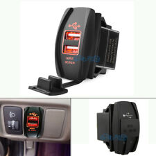 Dual USB Power Charger Carling Rocker Switch Red LED For POLARIS RZR 4 XP 900