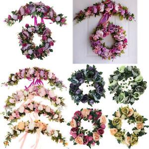 Artificial Peony Flower Mirror Wall Door Wreath Garland Hanging Wedding Decor